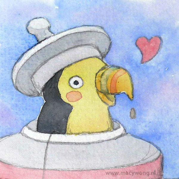 Toucan in a teapot